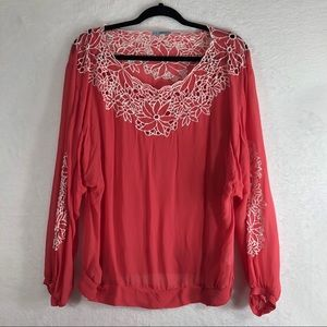 Anthropologie LEIFNOTES Pink/White Long Sleeve Top